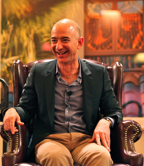 """Jeff Bezos' iconic laugh"" by Steve Jurvetson - Flickr: Bezos' Iconic Laugh. Licensed under CC BY 2.0 via Wikimedia Commons -"